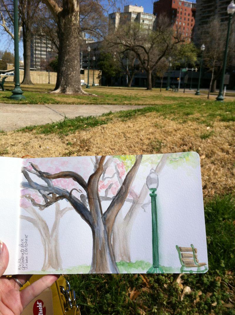 Park watercolor sketch
